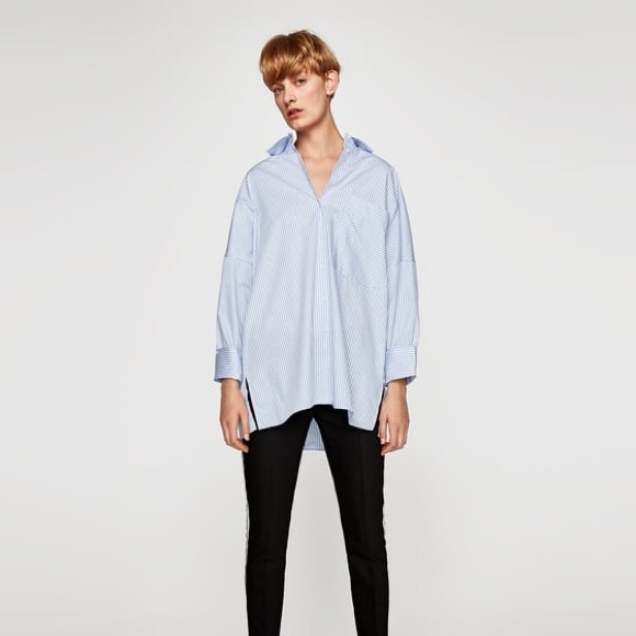 6a1233e3ac Zara Tops | Oversized Striped Shirt | Poshmark